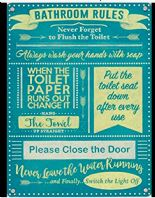 'Bathroom Rules' Retro Styled Metal Wall Plaque